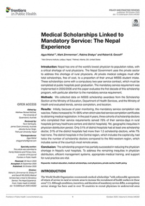 Medical Scholarships Linked to Mandatory Service The Nepal Experience