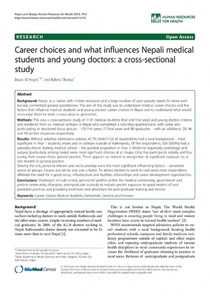 Career choices and what influences Nepali medical students and young doctors: a cross-sectional study