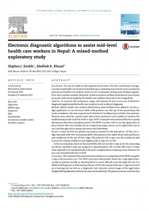 Electronic diagnostic algorithms to assist mid-level health care workers in Nepal: A mixed-method exploratory study