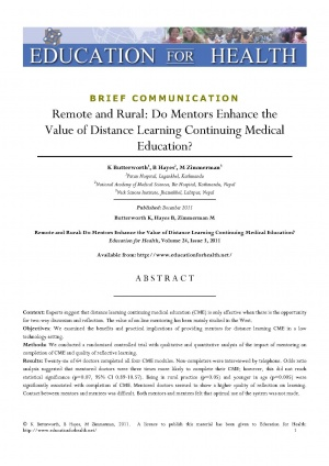 Remote and Rural: Do Mentors Enhance the Value of Distance Learning Continuing Medical Education?