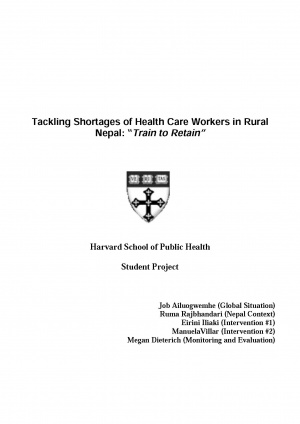 "Tackling Shortages of Health Care Workers in Rural Nepal: ""Train to Retain"""