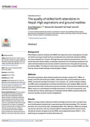 The quality of skilled birth attendants in Nepal: High aspirations and ground realities