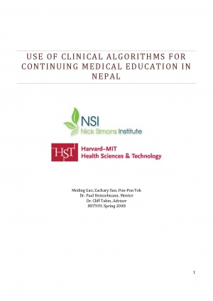 Use of Clinical Algorithms for Continuing Medical Educaion in Nepal